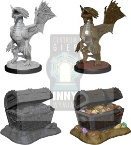D&D Nolzur's Marvelous Miniatures - Bronze Dragon Wyrmling & Pile of Sea found Treasure